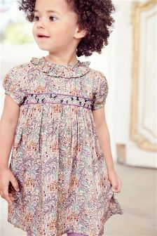 Lilac Ditsy Shirred Dress (3mths-6yrs)