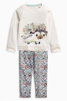 Teal/Ecru Hedgehog Woven Bottom Pyjamas (3-16yrs)