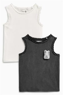 Charcoal/White Rib Vests Two Pack (3mths-6yrs)