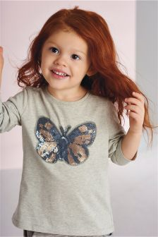 Grey Sequin Butterfly Long Sleeve T-Shirt (3mths-6yrs)