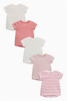 Pink Short Sleeve T-Shirts Five Pack (3mths-6yrs)