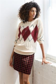 Red Houndstooth Skirt