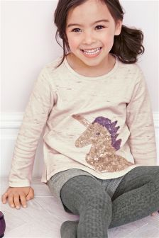Oatmeal Sequin Unicorn Crew (3mths-6yrs)