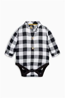 Black/White Check Shirtbody (0mths-2yrs)