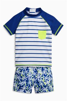 Blue/White Woven Short Two Piece Set (3mths-6yrs)