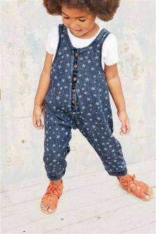 Denim Mid Blue Star Playsuit (3mths-6yrs)