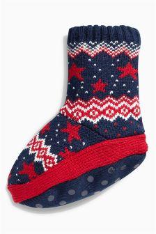 Navy Star Boot Socks (Younger Boys)