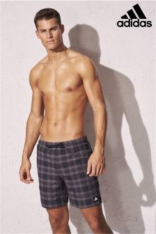 adidas Black Check Swim Short