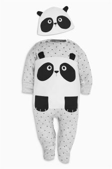 Black/White Panda Sleepsuit And Hat (0mths-2yrs)
