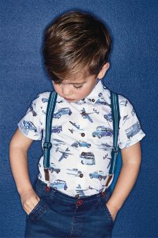 White/Blue Car Print Shirt (3mths-6yrs)