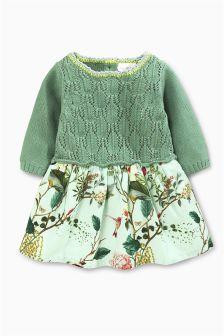 Green Knit Print Dress (0mths-2yrs)
