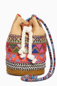 Natural Multi Trim Bucket Bag