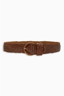 Tan Leather Weave Belt