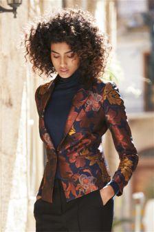 Floral Floral Metallic Jacquard Jacket