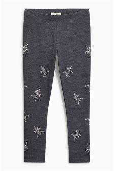 Grey Studded Unicorn Leggings (3-16yrs)