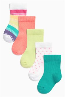 Multi Bright Socks Five Pack (Younger Girls)