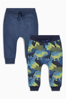 Navy/Dino Camo Print Super Skinny Joggers Two Pack (3mths-6yrs)