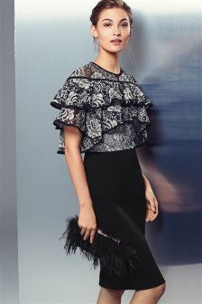 Monochrome Bodycon Lace Top Dress