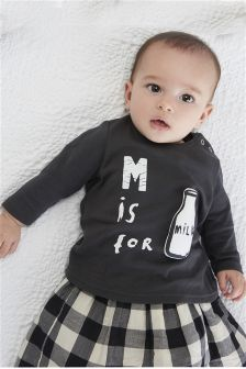Grey M Is For Milk T-Shirt (0mths-2yrs)