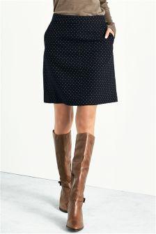 Navy Foulard Skirt