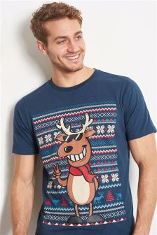 Navy Reindeer Christmas T-Shirt