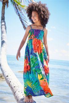 Multi Parrot Print Maxi Dress (3-16yrs)