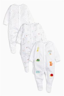 White Animal Sleepsuits Three Pack (0-12mths)