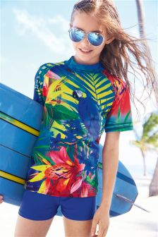 Multi Sunsafe Parrot Print Two Piece Set (3-16yrs)