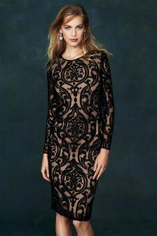 Black/Nude Long Sleeve Bodycon Dress