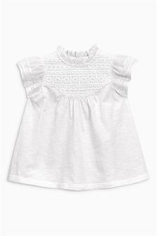 White Lace Panel Blouse (3mths-6yrs)