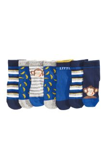 Grey/Blue Monkey Socks Seven Pack (Younger Boys)