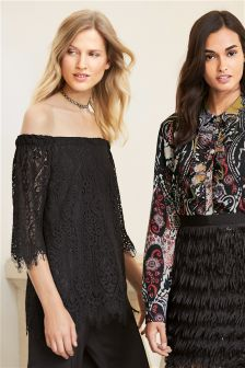 Black Off Shoulder Lace Top