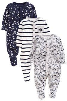 Navy/Grey Monkey Sleepsuits Three Pack (0mths-2yrs)