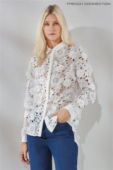 French Connection White Manzoni Lace Shirt