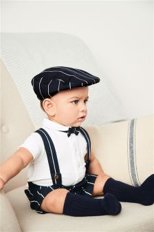 Navy Stripe Shorts And Braces Set (0mths-2yrs)