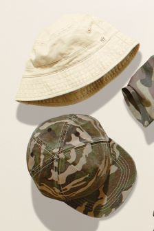 Stone/Camo Cap And Fisherman's Hat Two Pack (Younger Boys)