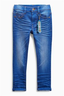 Bright Blue Skinny Jeans With Keyring (3-16yrs)