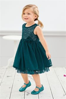 Teal Sequin Party Dress (3mths-6yrs)