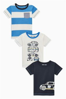 Blue/Ecru Car T-Shirt Three Pack (3mths-6yrs)