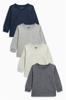 Navy/Grey/Oatmeal/Charcoal Long Sleeve T-Shirt Four Pack (3mths-6yrs)