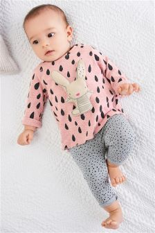 Pink Print Bunny Top And Leggings Set (0mths-2yrs)