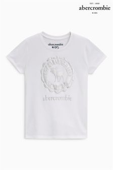 Abercrombie & Fitch White Moose Print Tee