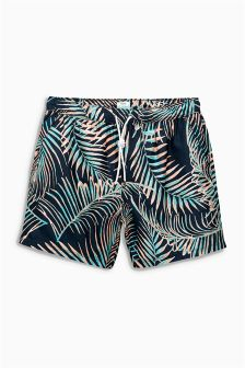 Navy Leaf Print Swim Shorts
