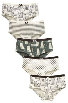 Grey/Ecru Cat Hipsters Five Pack (3-16yrs)