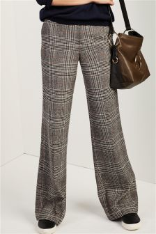 Black/Ivory Brushed Check Slouch Trousers