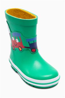 Green Train Wellies (Younger Boys)