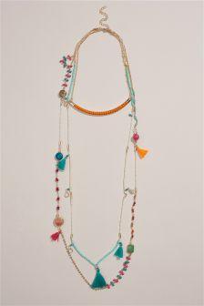Gold Tone Coloured Multi-Layer Torque Necklace