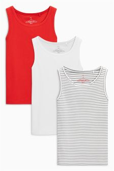 Red/White/Grey Rib Vest Three Pack (3-16yrs)