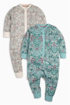 Teal/Ecru Floral Sleepsuits Two Pack (9mths-8yrs)