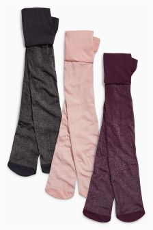 Pink Sparkle Tights Three Pack (3-16yrs)